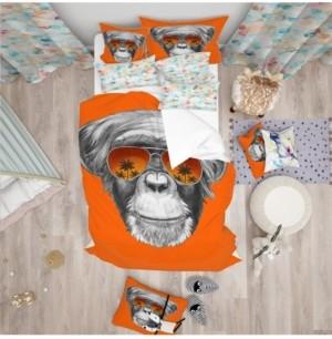 Design Art Designart 'Monkey With Mirror Sunglasses' Tropical Duvet Cover Set - Twin Bedding