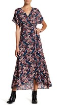 Bobeau Short Sleeve Print Wrap Maxi Dress (Petite)