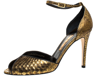 Gina Gold/Black Python Peep Toe Ankle Strap Sandals Size 41