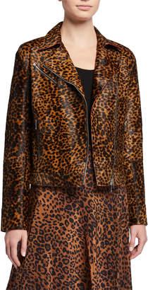 Lafayette 148 New York Bernice Cheetah Calf Hair Moto Jacket