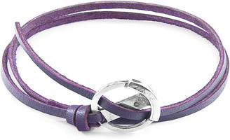 ANCHOR & CREW Grape Purple Ketch Anchor Silver And Flat Leather Bracelet