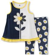 Kids Headquarters Navy & White Daisy Tank & Leggings - Infant Toddler & Girls