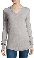 Sweet Romeo V-Neck Long-Sleeve Sweater, Heather Gray