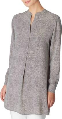 Anne Klein Mini Dot Split Neck Tunic Top