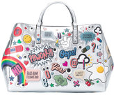 Anya Hindmarch metallic (Grey) sticker tote - women - Leather - One Size