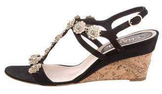 Chanel Camellia Wedge Sandals