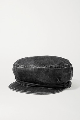 Maison Michel New Abby Embellished Denim Cap - Black