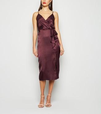 New Look Satin Snake Jacquard Ruffle Midi Dress