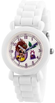 Disney Fancy Nancy Girls' White Plastic Time Teacher Watch, White Silicone Strap