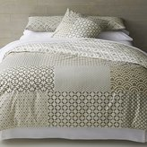 Crate & Barrel Sereno Neutral Hand-Blocked Full-Queen Duvet Cover