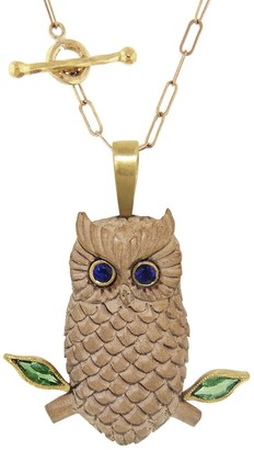 Cathy Waterman Diopside and Blue Sapphire Wood Owl Yellow Gold Charm