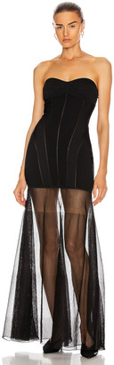 Thierry Mugler Strapless Sheer Dress in Black | FWRD