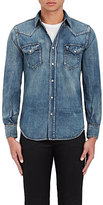Saint Laurent Men's Cotton-Linen Western Shirt-BLUE