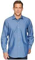 Magna Ready Long Sleeve Magnetically-Infused Solid Dress Shirt - Spread Collar (Medium Blue) Men's Clothing