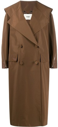 Fendi Oversized Gabardine Double-Breasted Trench
