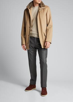 Loro Piana Men's Voyager Cashmere Coat with Fur Trim