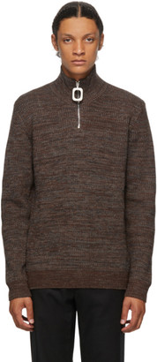 J.W.Anderson Brown Roll Neck Half-Zip Sweater