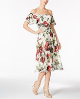 Betsey Johnson Printed Off-The-Shoulder Midi Dress