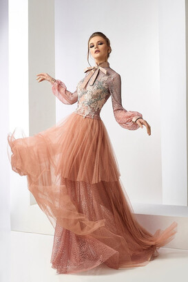 Gatti Nolli by Marwan Lyall Long Sleeve Lace Top and Tulle Skirt