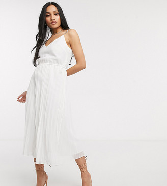 Asos DESIGN Petite pleated cami midi dress with drawstring waist in white