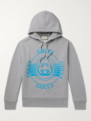 Gucci Oversized Logo-Print Melange Loopback Cotton-Jersey Hoodie