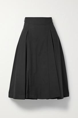3.1 Phillip Lim Buckled Pleated Cotton-blend Midi Skirt - Black