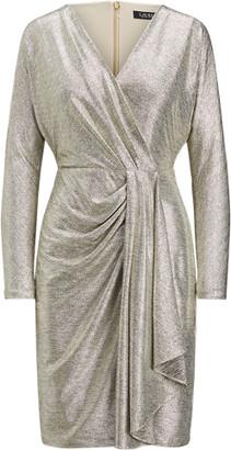 Ralph Lauren Metallic Stretch Knit Cocktail Dress