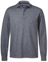 Charles Tyrwhitt Navy Long Sleeve Cotton Polo Size Medium