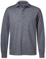 Charles Tyrwhitt Navy Long Sleeve Cotton Polo Size XXL
