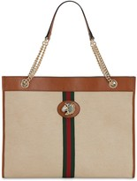 Gucci LARGE RAHAH CANVAS & LEATHER TOTE BAG