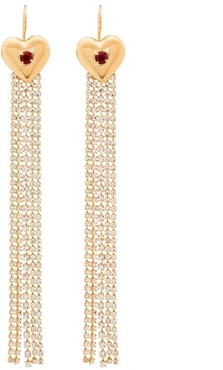 MONDO MONDO Heart-Motif Crystal Drop Earrings