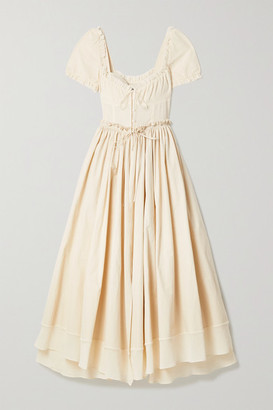 Rosie Assoulin Garten Party Layered Ruffled Cotton-voile And Canvas Maxi Dress - Ivory