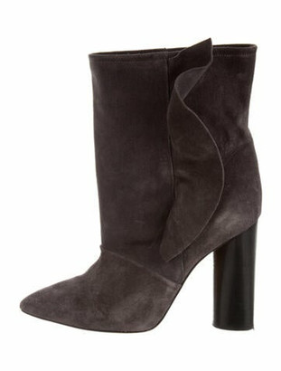IRO Suede Ruffle Embellishment Boots Grey