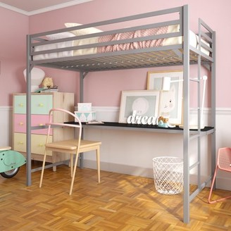 DHP Miles Metal Twin Loft Bed with Desk, Silver