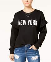 Pretty Rebellious Juniors' Ruffled New York Graphic Sweatshirt