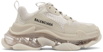 Balenciaga Beige Clear Sole Triple S Sneakers
