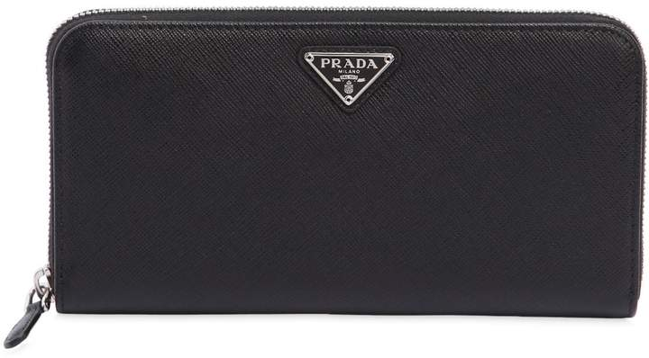 5032bb10d6ae03 Prada Wallets Black Leather Zip - ShopStyle