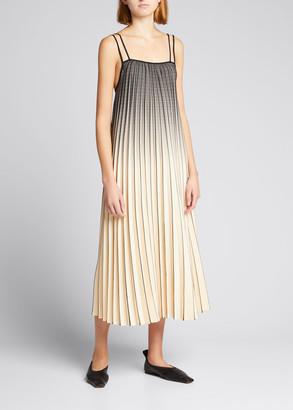Proenza Schouler White Label Pleated Ombre Plaid Trapeze Dress
