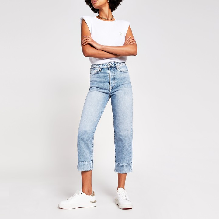 Thumbnail for your product : River Island Womens Blue high waisted straight cropped jeans