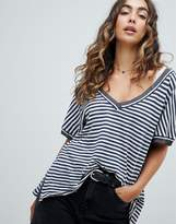 Free People Stripe Jersey V Neck T-Shirt