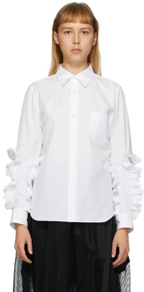Comme des Garcons White Broad Ruffle Arm shirt