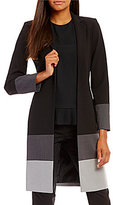 Calvin Klein Luxe Stretch Suiting Colorblock Long Jacket