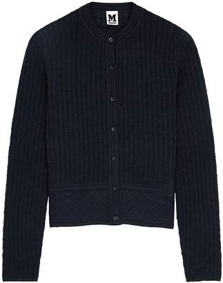 M Missoni Navy Textured-knit Wool-blend Cardigan