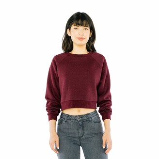 American Apparel Women's Peppered Fleece Long Sleeve Cropped Pullover