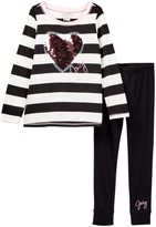 Juicy Couture Sequin Heart Applique Wide Stripe Tunic & Legging Set (Little Girls)