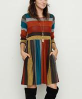Egs By Eloges egs by eloges Women's Tunics burgundy - Burgundy & Brown Stripe Empire-Waist Tunic - Women & Plus