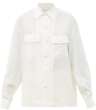 Lemaire Cuban-collar Patch-pocket Silk-blend Poplin Shirt - Ivory