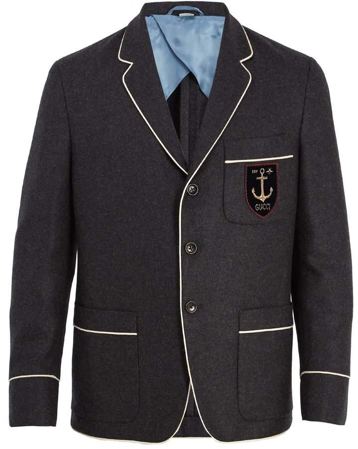 Gucci Logo-appliqué cashmere blazer