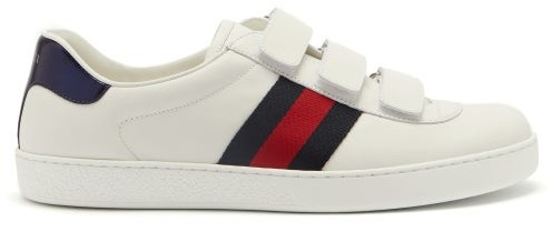 Gucci New Ace Web Stripe Low Top Leather Trainers - Mens - White Multi