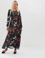 Zibi London wrap front long sleeve floral midi dress